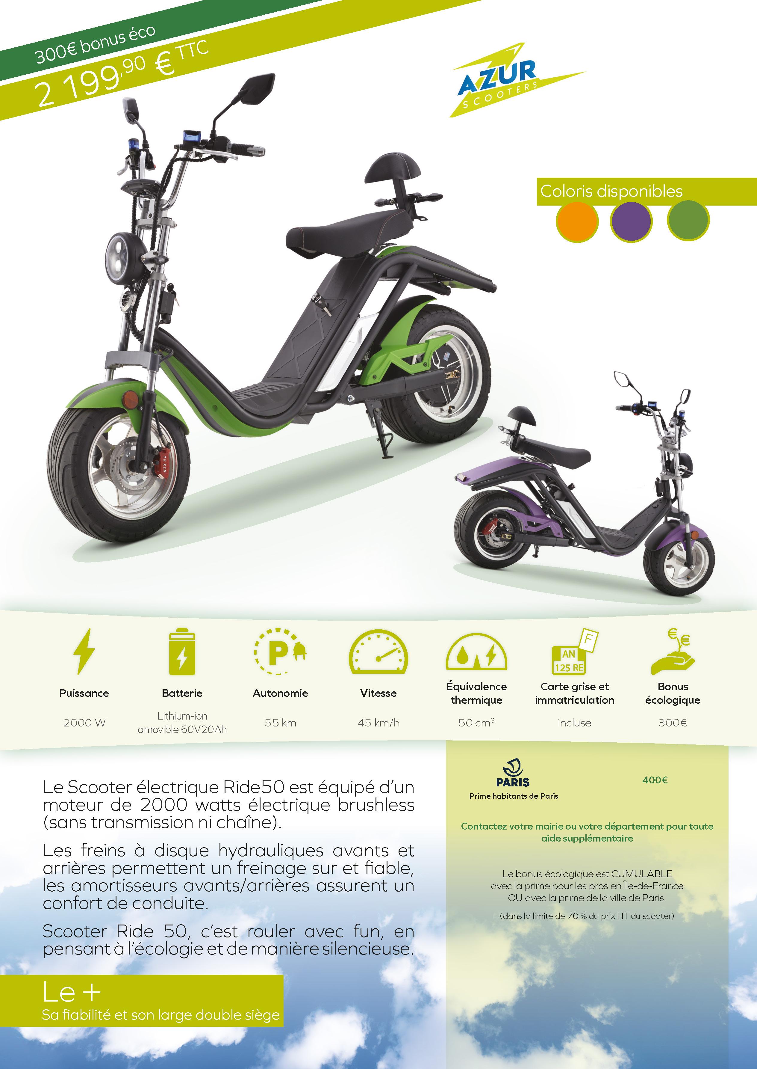 Scooter électrique Ride50 Double Place